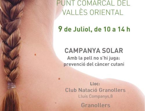 Ajornada a dijous 11 de juliol, la jornada de prevenció del càncer de pell